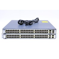 LOT OF (2) CISCO WS-C3750-48PS-S-VO5 AND VO6 48 PORT ETHERNET SWITCH