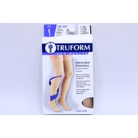* TRUFORM 20-30 mmHg CLOSED TOE BEIGE THIGH HIGH STOCKINGS L 8868BG-L