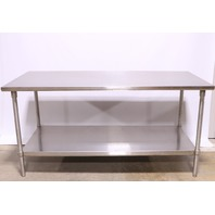 * S14015 STAINLESS STEEL TABLE 72 x 36 x 36 W/ LOWER SHELF