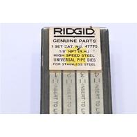 "* RIDGID 47775 1/8"" NPT 1 SET HIGH SPEED UNIVERSAL PIPE DIES RIGHT HAND"