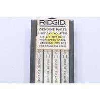 "* RIDGID 47785 1/2""-3/4"" NPT 1 SET HIGH SPEED UNIVERSAL PIPE DIES RIGHT HAND"