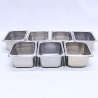 * LOT OF (7) STAINLESS STEEL NEXT DAY GOURMET PRODUCTION 125 CONTAINER