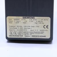 * SIEMENS MICROMASTER VECTOR 6SE3-212-0DA40 DRIVE
