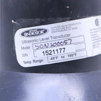 BINDICATOR SON2000057 ULTRASONIC LEVEL TRANSDUCER S/N 1521177