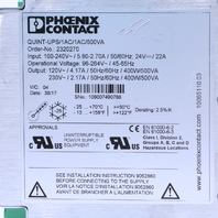 PHOENIX CONTACT QUINT-UPS/1AC/1AC/500VA UNINTERRUPTIBLE POWER SUPPLY 120 V AC/230 V 400 W/500 VA