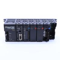 * DIRECT LOGIC 205  D2-06B D2-250 D2-16NA D2-08TR F2-04AD PLC RACK
