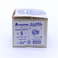 """* NEW QTY. (5) APPLETON 15235 1-1/4"""" SHEATHED SEC CONNECTOR"""