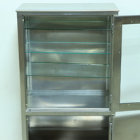 "* Q-LINE GLASS STAINLESS STEEL MEDICAL CABINET 30""W x 60.5""H x 16""D"