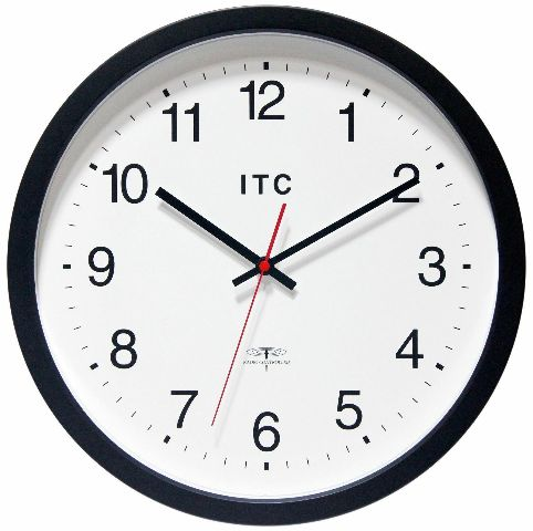 """Infinity Instruments ITC Radio-Controlled Atomic Business Wall Clock, 14"""" Round"""