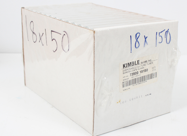 Lot of 125 Kimble Disposable Test Tubes 18x150mm 73500-18150
