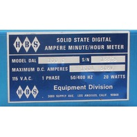 HBS Solid State Digital Ampere Minute/ Hour Meter 100C 100A 50 mVDC