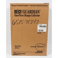 Case of 12 BD Guardian Once Piece Sharps Collector 8.2 Qts. 305490