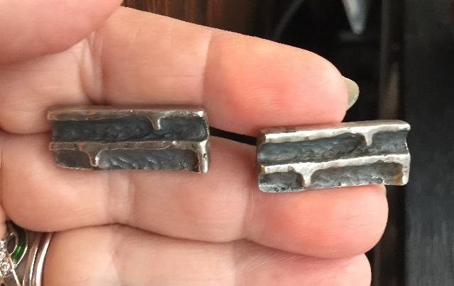 Mid Century sterling silver brutalist cufflinks