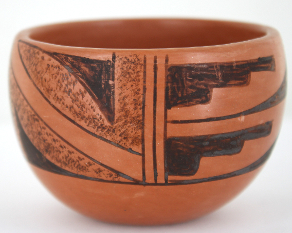 Vintage Native American Pot Cold Painted Signed VF-15 Red Clay 4 Inches High.