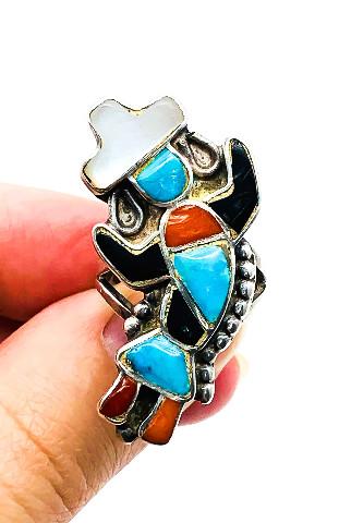 Vintage zuni sterling kachina Inlay ring