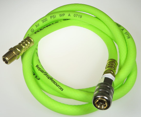 "FLEXZILLA TIRE INFLATION HOSE, 5' LONG, 1/4"" NPT, CLOSED FLOW LOCK ON CHUCK"