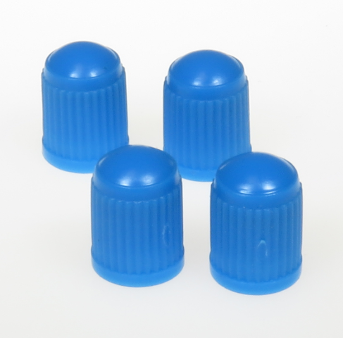 (4) BLUE TIRE VALVE CAPS WITH NITRILE SEAL, TPMS SAFE