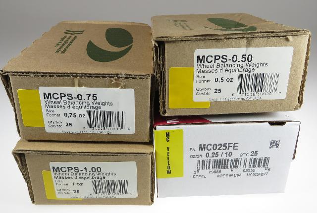 100 Pcs MC Style Wheel Weight Assortment 0.25 - 1.00 ounce PLASTEEL
