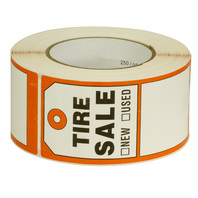 """Tire Label - USED TIRE 250 Stickers 6"""" X 2.5"""" (150mm x 63.5mm)"""
