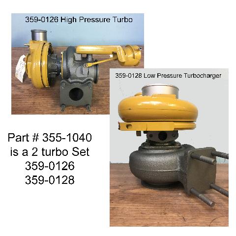 Reman 2 Turbo Set for Caterpillar Industrial C7 1 Liter Engine | Cat #  355-1040