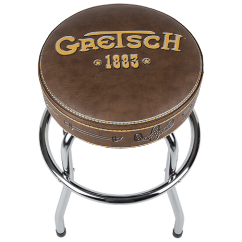 Gretsch 1883 Logo 30'' Inch Barstool Seat Chair Brown w/Gold Logo