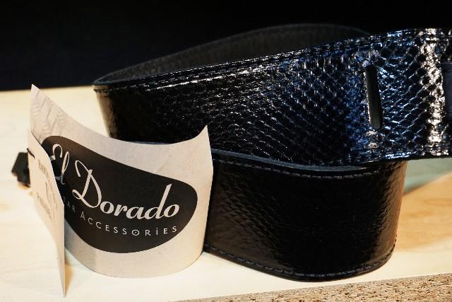 El Dorado Durango Suave Genuine Snakeskin Black Guitar Strap