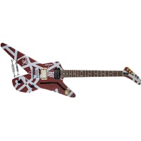 EVH Striped Series Shark Pau Ferro Fingerboard Burgundy with Silver Stripes
