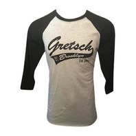 Gretsch Brooklyn 3/4 Sleeve Raglan Baseball Shirt Medium Black/Heather White