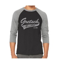 Gretsch Brooklyn 3/4 Sleeve Raglan Baseball Shirt Large Heather Grey/Black