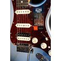Fender American Elite Stratocaster HSS Satin Ice Blue Metallic Guitar Mint W/Hardshell