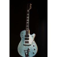 Gretsch USA  Custom Shop Triple Jet 3 Pickup Turquoise Sparkle Alpine White Guitar