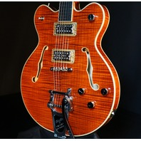 Gretsch G6609TFM Tiger Flame Bourbon Players Edition Broadkaster Guitar Mint
