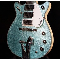 Gretsch G6128CS Custom Duo Jet Double Cutaway Turquoise Sparkle Alpine White Guitar