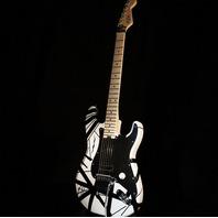 EVH Striped Series White with Black Stripe Guitar