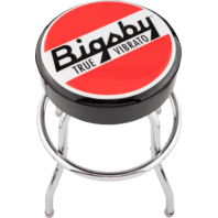 """Bigsby® Round Logo Barstool, Black, Red and White, 30"""""""