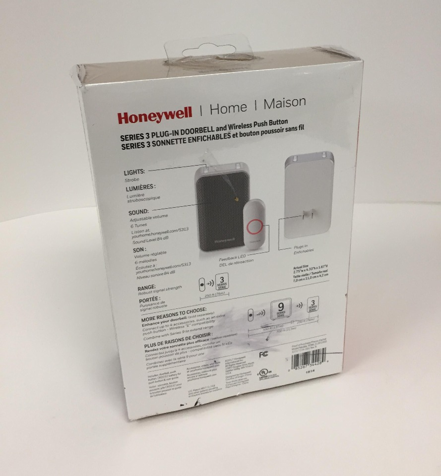 Honeywell RDWL313P2000//E Series 3 Plug-in Wireless Doorbell//Door Chime