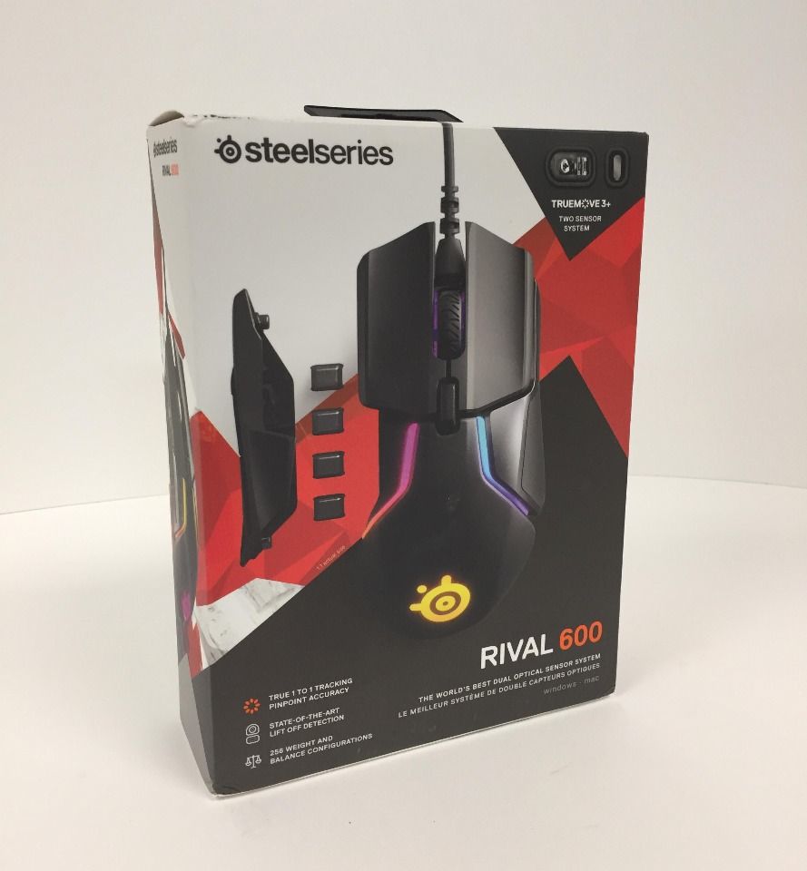 12,000 CPI TrueMove3 SteelSeries Rival 600 Gaming Mouse Dual Optical Sensor