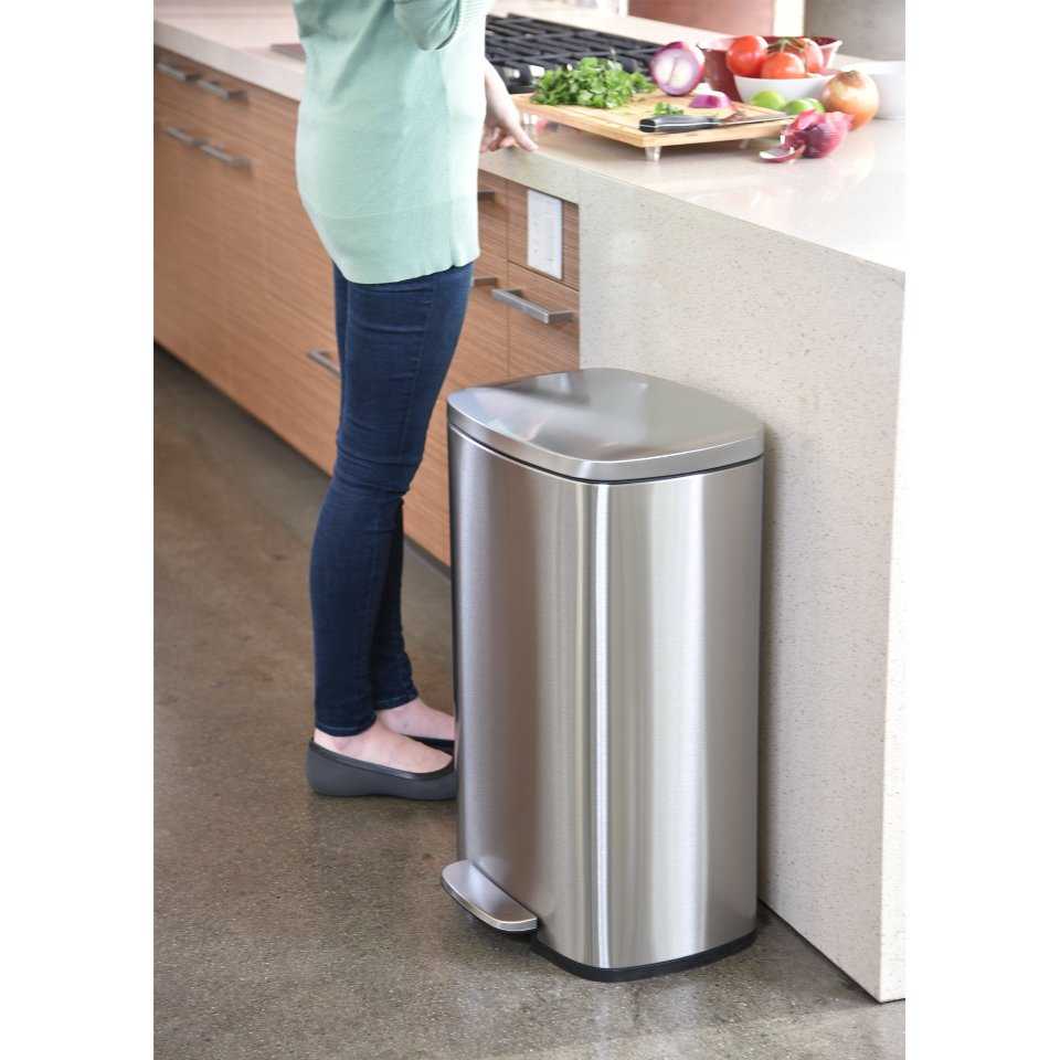 Itouchless Softstep 13 2 Gallon Stainless Steel Step Trash Can 50 Liter Pedal Kitchen Trash Can Removable Inner Bucket Odor Filter Compartment