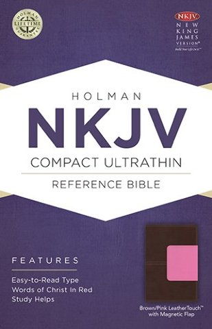 NKJV Compact Ultrathin Bible, Pink/Brown LeatherTouch with Magnetic Flap
