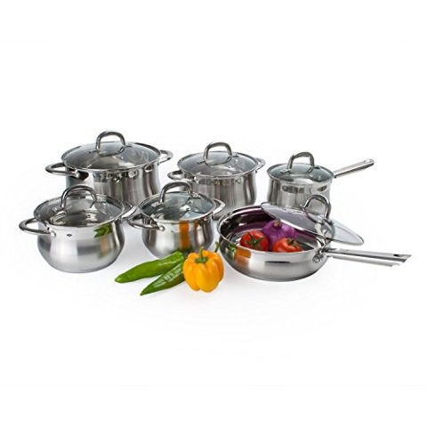 12 Piece Alpine Gourmet Belly Shape Cookware Set, Stainless Steel