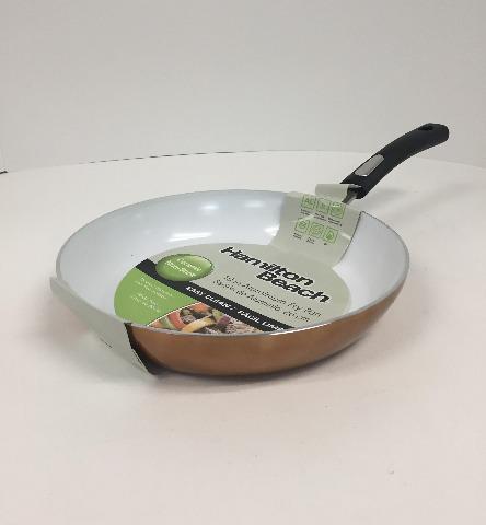 "Hamilton Beach - 10"" Fry Pan - Copper/White Ceramic"