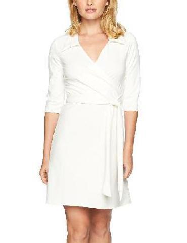 Star Vixen Women's Petite 3/4 Sleeve Faux Wrap Dress with Collar, Ivory, PM