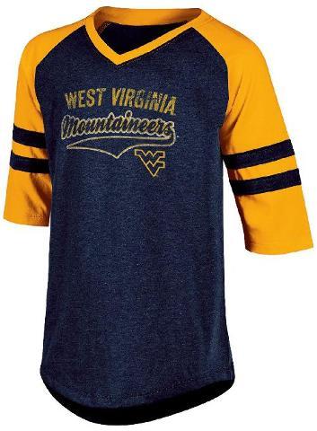 NCAA West Virginia Mountaineers Youth Girls Half Sleeve Tee X-Large Navy