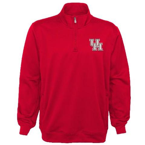 NCAA Houston Cougars Youth Boys Trainer 1/4 Zip Jacket, Red, Youth Small(8)