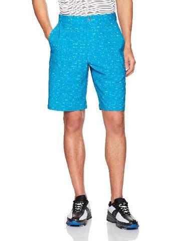 PGA TOUR Men's Active Waistband Grid Space-Dye Printed Short, Hawaiian Surf, 34