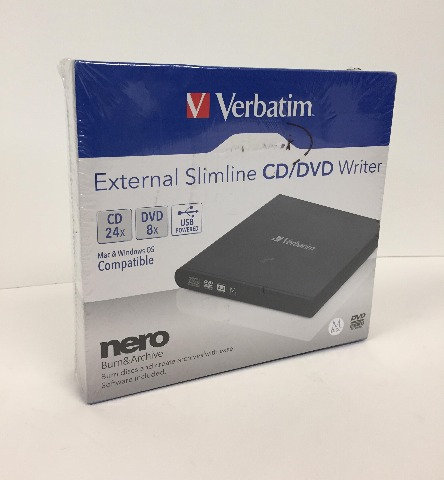 Verbatim External CD/DVD Writer, USB Powered, Mac/PC Compatible - Black (SEALED)
