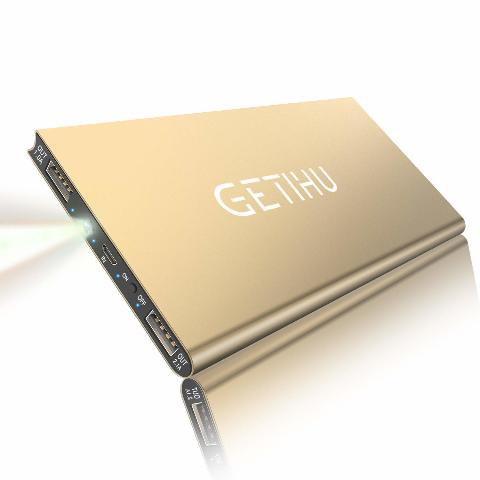 Getihu 10000 Mah Portable Power Bank With 2 USB Ports Mobile Charger - Gold
