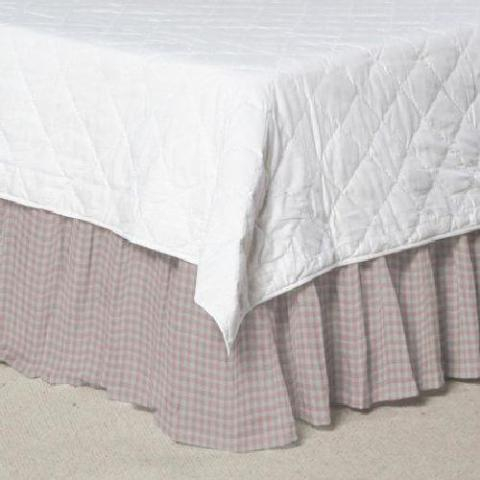 Patch Magic Pink and White Gingham Check, Fabric Dust Ruffle King 78 x 80 inch