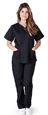 Natural Uniforms Scrub SetBlack/hot pink trim