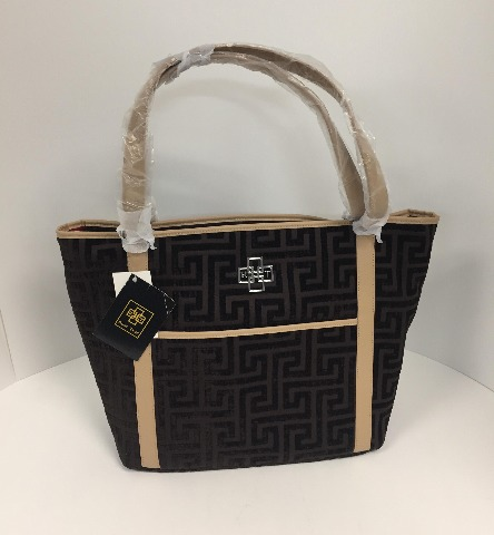 Rose Tree Plaza Designer Tote Bag With Multiple Pockets, Coffee, One Size